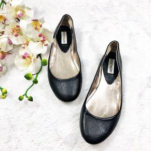 Steve Madden Leather Black Ballet Flats Sz 8.5
